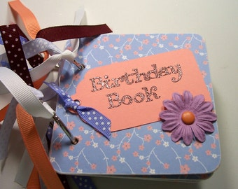 Lavendar and Peach Birthday Book, Birthday reminder book, Birthday calendar, birthday list, mini birthday book, chipboard calendar