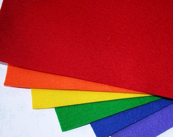 6 pc 100% pure new merino wool felt - Rainbow colours