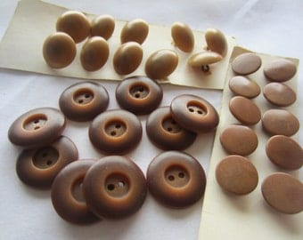 Vintage Buttons - Lot of 30, 3 sets of matching, brown vegetables, (dec511)