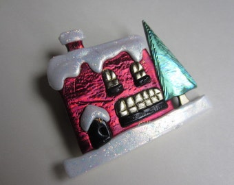 Red House Cottage in the snow pin brooch