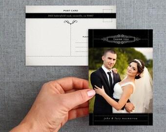 Wedding, Thank you, Postcard, digital file, with photo, elegant - Vintage Dark