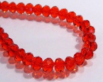Bright Red Faceted Rondelle Glass Beads....12 Beads.....6x4mm