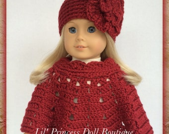Handmade Doll Clothes Made To Fit American Girl, Crochet Poncho Set, WINE COUNTRY, Fits 18 Inch