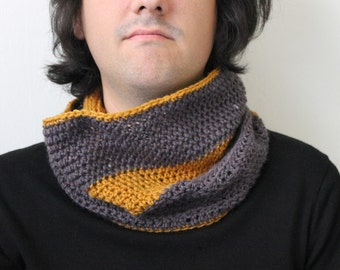 Gray and Mustard Wool Circle Scarf