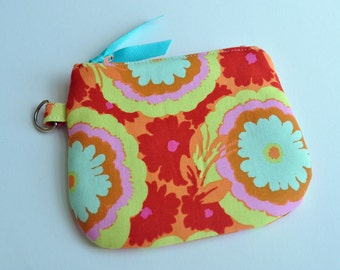 Curved Mini Zip Wallet in Amy Butler's Buttercup