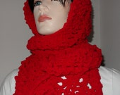 Red Lacy Chenille  Hooded Scarf