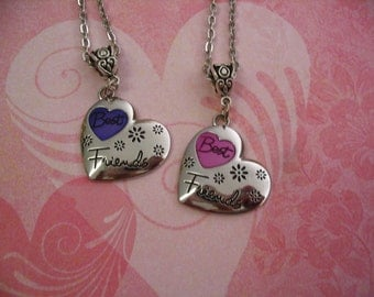 Best Friend Heart  Necklace Pink and Purple Set Friendship Jewelry Gift