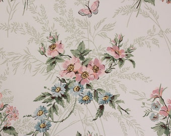 1970's Vintage Wallpaper Pink and Blue Bouquets Butterflies on White