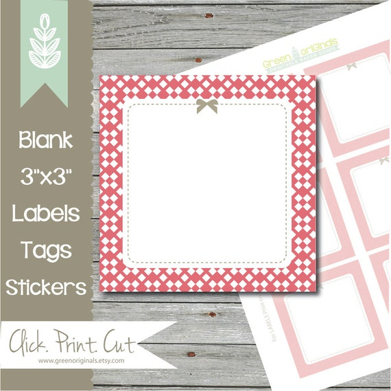 Printable 3 Square Labels Tags INSTANT DOWNLOAD by ...