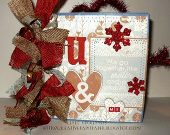 Handmade 6x6 We go together like Winter and a Sweater Paper bag Scrapbook Album