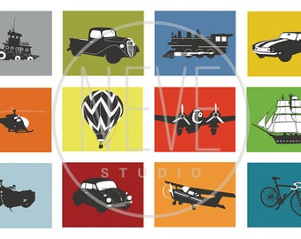Transportation Wall Art, baby boy nursery art, set of 3, 5 x 7 mix and match art prints by neve dobson - you choose the vehicles and colors