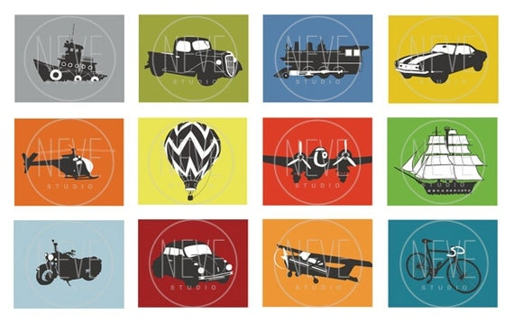 Transportation Decorations, boys room wall art, set of 4, 8 x 10 modern art prints - you choose the vehicles and colors