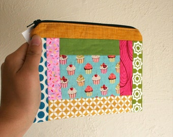 Cupcake Pouch- Patchwork - Zippered Pouch