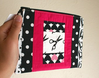 Black and Pink Patchwork Scissor Pouch - Zippered Pouch