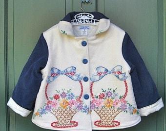 Size 6 Vintage Embroidered Girl Jacket Coat