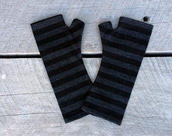 Merino wool fingerless gloves - striped black and charcoal fingerless armwarmers, striped gloves