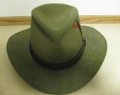 Reserved for Tim Vaniman Stetson Cowboy Hat 4 X Beaver XXXX Stetson with hat band and feathers green felt
