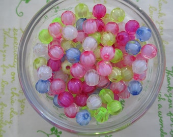 Acrylic round beads 50pcs 8mm Carnival bead in bead transparent MIX