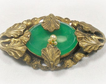 Art Nouveau Chrysoprase Green Acanthus Leaves Brooch Pin Circa 1900