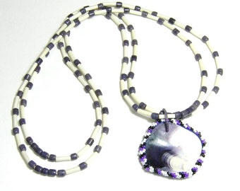 Wampum pendant double stranded bone, glass and shell nekclace