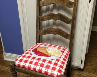 Hand Painted Slice of cherry pie a la mode upcycled chair SALE