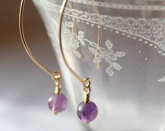 14kt gold filled dangle earrings with 6mm Amethyst fun cut cube
