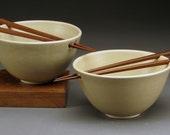 Creamy White Rice Noodle Bowls with Chopsticks, Generous Size
