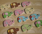 "Wood Elephant Buttons - Wooden Painted Button - Pastel Colors - Bulk Buttons - 1 1/8"" - 12 Assorted Buttons"