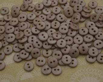 "Little Light Brown Buttons - 3/8"" Sewing Button - Taupe - 55 Buttons - Latte"