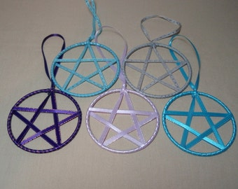 YOU PICK - Pentagram Ribbon Star Turquoise Blue or Light Purple Christmas or Yule Ornaments