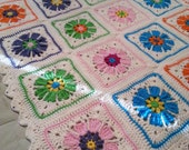 Hand Crocheted Floral Blooms Lap Blanket
