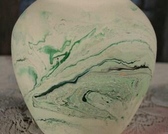 Nemadji Pottery Round Vase Pottery Swirl USA Minnesota Green Emerald Teal Native American Bud Vase Vintage