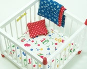 Red White Playpen Blue Baby Nursery Furniture 1:12 Dollhouse Miniature