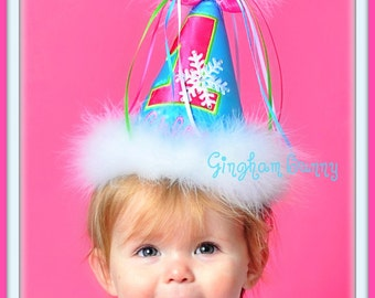 """Snowflake WINTER """"ONE"""" DERLAND  First Birthday Hat,  Any Number, You Choose Colors,by Gingham Bunny"""