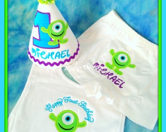 Monster Cake Smash Set, 3 pc. Little Monster First  Birthday Hat, Bib, and Boxers You choose colors,  by GINGHAM BUNNY