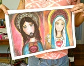 Sacred Hearts of Jesus and Mary - Large Print on Fabric (16 x 20 inches) by FLOR LARIOS