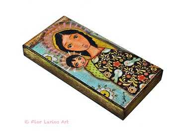 Black Madonna with Child -  Giclee print mounted on Wood (5 x 10 inches) Folk Art  by FLOR LARIOS