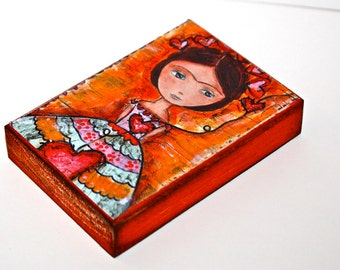 Frida y sus Corazones - ACEO Giclee print mounted on Wood (2.5 x 3.5 inches) Folk Art  by FLOR LARIOS