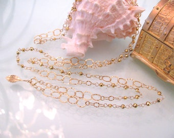 Long Chain Gold Pyrite Wire Wrap Necklace