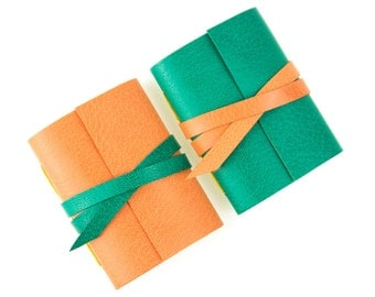 Mini Journal: Emerald and Peach little leather notebook Easter gift Green and Orange. Ships worldwide. Garden, Spring, Citrus.