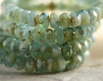MALIBU BITS No. 2 .. 30 Premium Picasso Czech Rondelle Glass Beads 3x5mm (4259-st)