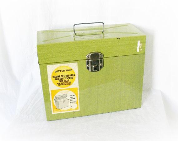 Vintage 60s Metal Box File Folder Letter Size Green Wood Grain
