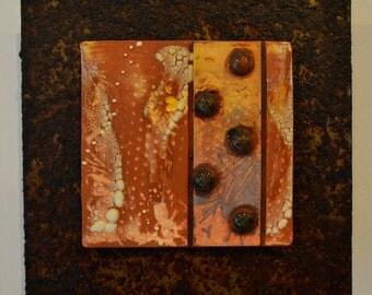 Ceramic Tile Wall Plaque (yellow, orange, terracotta) - Meagan Chaney Gumpert (14-04)