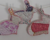 Bunny rabbits vintage cutter quilt  ornaments, multicolors pink blue red violet embroidered Christmas fun whimsical