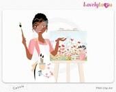 Artist woman clipart, watercolor painter, digital PNG clip art (Cassie 563)