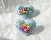 Spring Garden  Heart Flower Bouquets Brooch Pin- Friendship Felt Heart -Baby Blue -  Greens - Peach - Orange - White