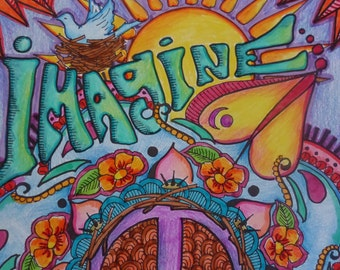 Imagine, Peace Love, Hippie Poster, Dorm Poster, Singleton Hippie Art, Hand Colored by Artist, Hippie Decor, Peace Poster, Imagine Peace