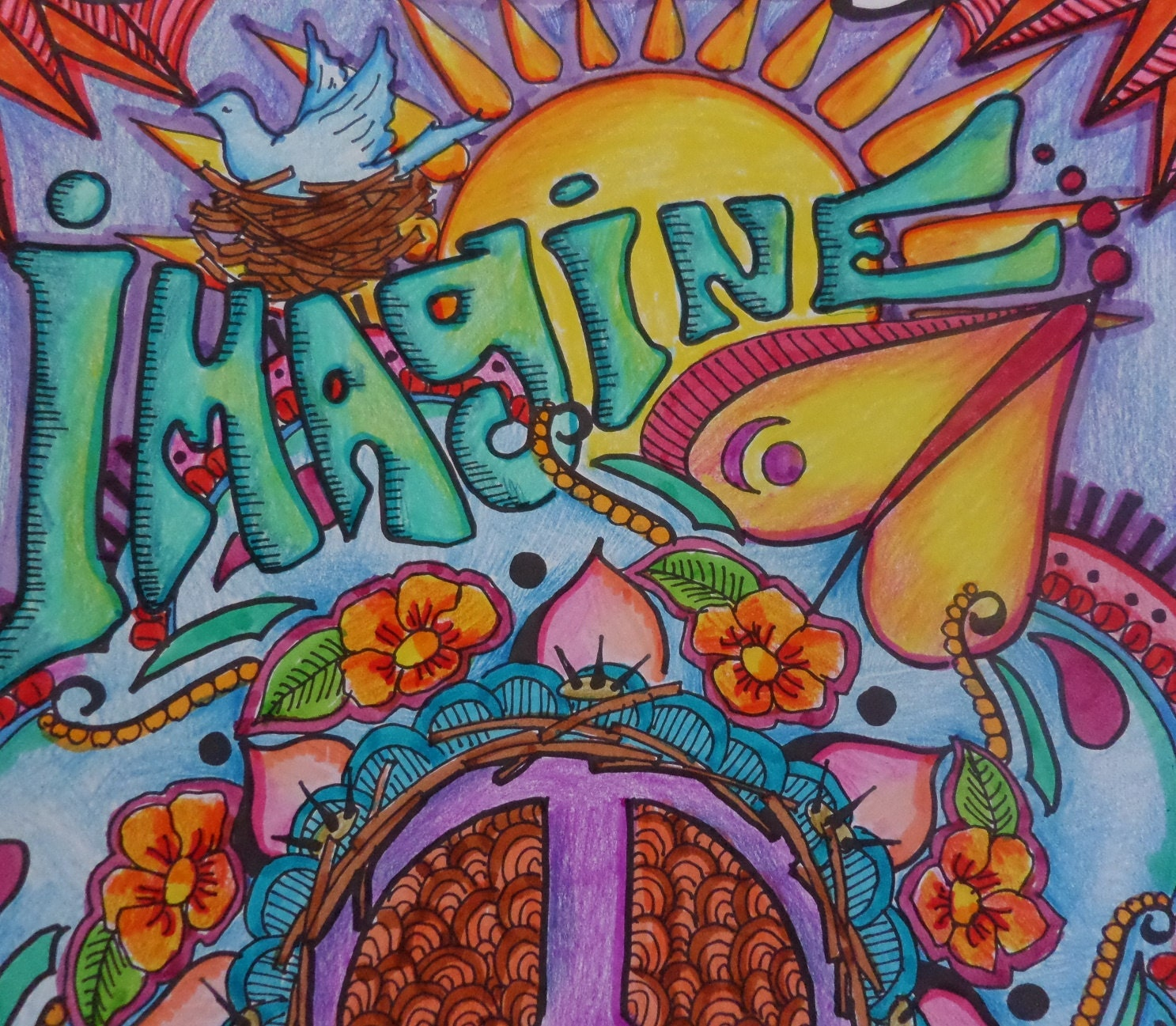 Imagine peace love hippie poster dorm poster singleton for Hippie dekoration