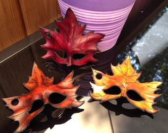 Small Leather Maple leaf mask ornament
