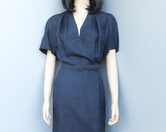 1940s/50s Key-to-Youth Fashions, Navy Blue SILK Dress, Wiggle, Pencil Dress, Side Metal Zipper, Large
